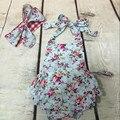 Floral bolha romper do bebê, Top Knot Headband do bebê meninas outfit, recém-nascidos sunsuit, Romper roupa da criança, floral roupa dos miúdos