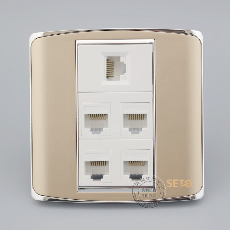 5 Port RJ45 Cat5e Network Ethernet LAN Champagne Color Socket Outlet Panel Faceplate