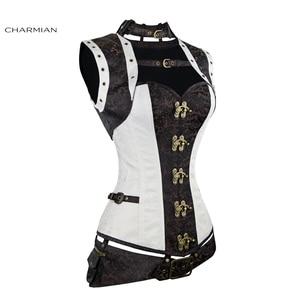 Image 2 - Charmian المرأة حجم كبير Steampunk مشد الأبيض الصلب الجوفاء النهضة خمر مشدات القوطية و المشدات مربوط أعلى