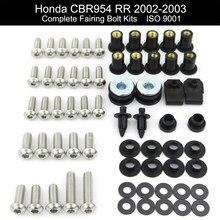 Para Honda CBR954RR 2002 2003 Motocicleta Carenagem Completa Clips Kit Completo Carenagem Kit Parafusos de Aço Inoxidável