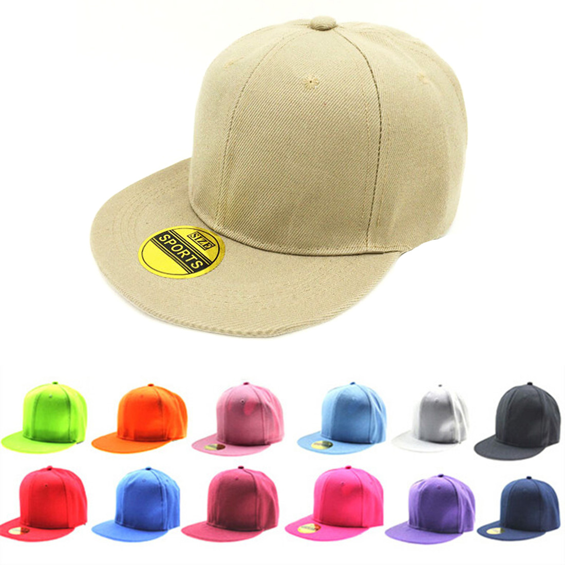 a3186faa54a467 New Arrival Spring Summer Pure Color Caps Flat Hip Hop Style Hat Europe  Style Cowboy Hats Baseball Cap 15 Colors Adjustable