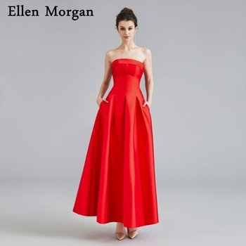 Simple Tea Length Red Satin Short Prom Dresses 2019 Sexy Strapless Pockets for African Black Girls Custom Made Vestido De Festa