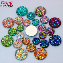 Cong Shao 100Pcs 10/12/14/16mm AB Colorful flatback stones and crystals Resin Round Rhinestone trim DIY Wedding Dress YB32HB