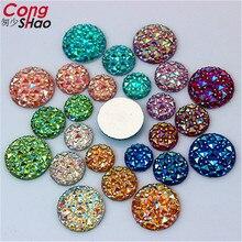 Cong Shao 100Pcs 10/12/14/16mm AB Colorful flatback stones and crystals Round Resin Rhinestone trim Beads DIY Wedding Dress YB32