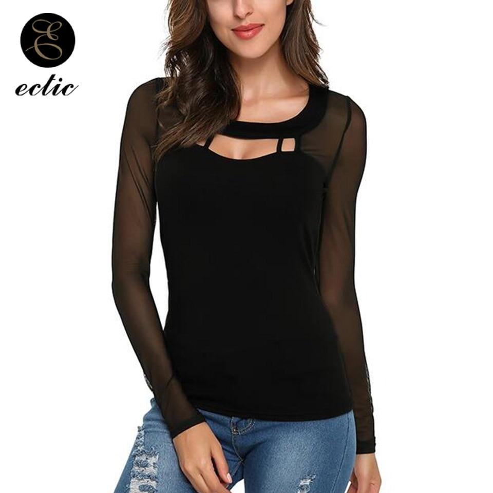 Plain Black T Shirt Net Women Lace Splice Bluz Deep V Neck -9561