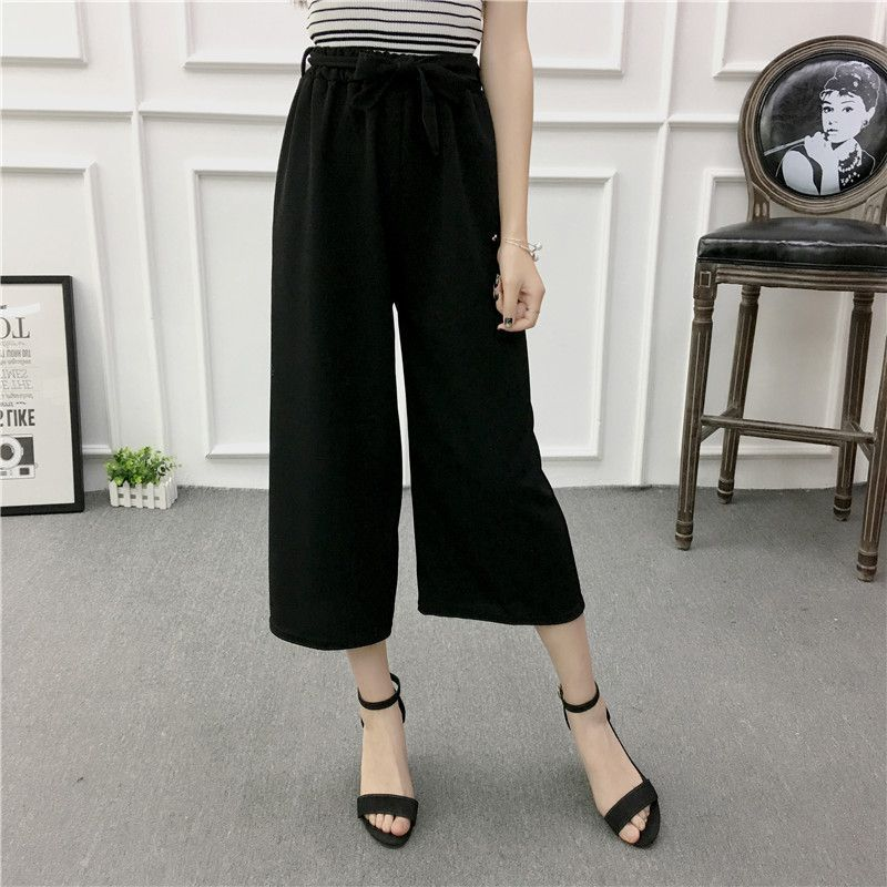 ETOSELL Women New Summer Wide Leg Pants Casual Loose High Elastic Waist Harem Pants Loose Belt Striped Elasticated Trousers 13