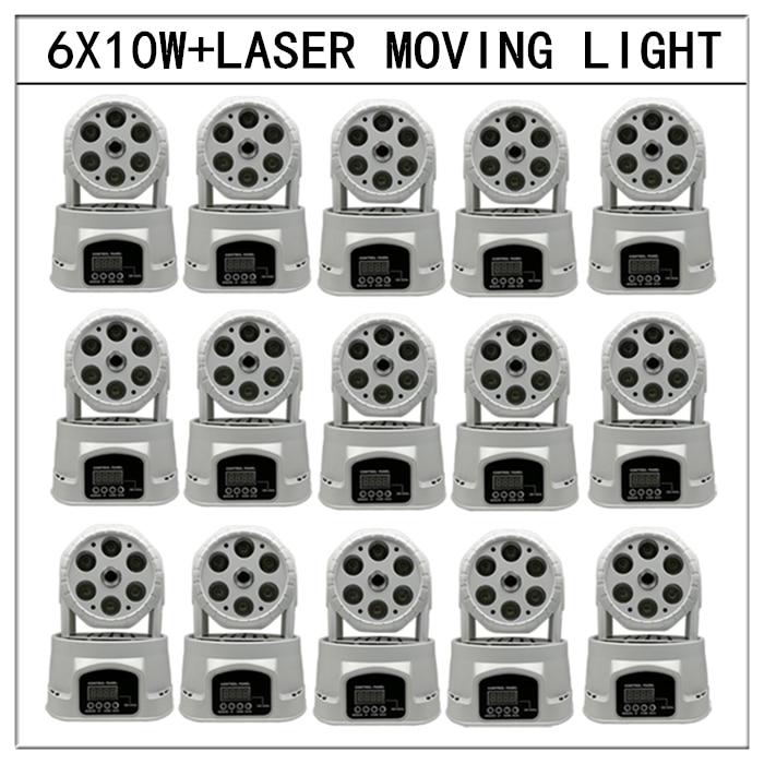 15pcs/6x10w led+laser moving head lights rgbw 4in1 dmx512 beam laser lights mini disco 12w moving head dmx512 light beam lights led spot lighting dj show disco laser light rgbw 4in1 led