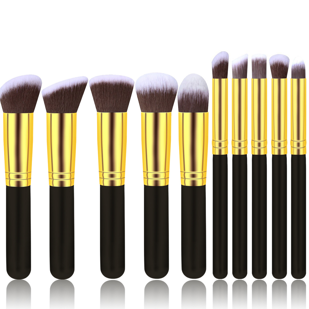 Image 5 - 2019 New Arrive 10 Pcs Makeup Brush Set Soft Synthetic Hair Cosmetics Foundation Powder Blending Blush Lady Beauty Makeup Tools-in Eye Shadow Applicator from Beauty & Health