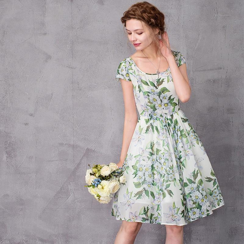 knee length chiffon floral dress