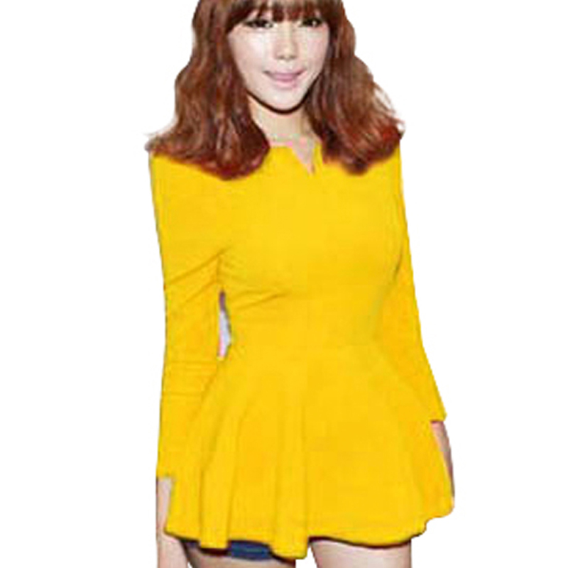New Fashion America Style Women Long Sleeve Ruffles Peplum ...