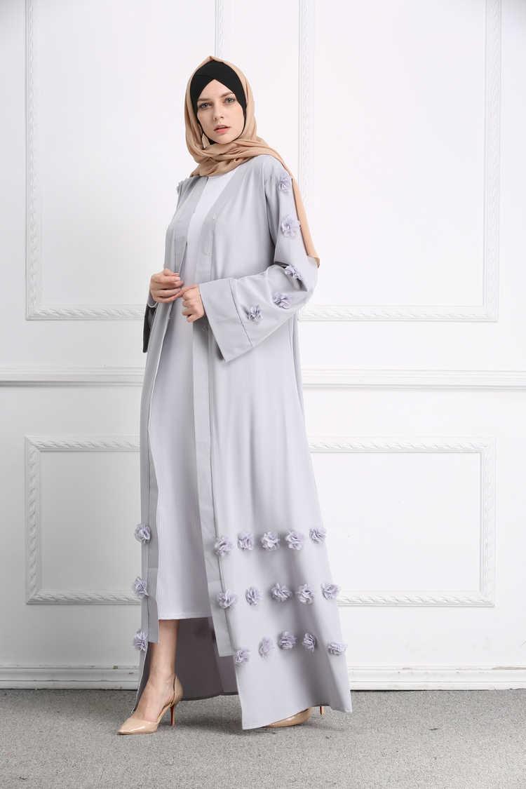 Женский Абая Дубай Серый Белый Черный пальто аппликации мусульманский кафтан длинный кардиган Болеро хиджаб турецкий мусульманская одежда головной платок