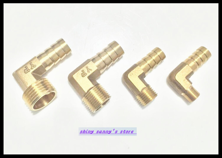 6Pcs/Lot 14-04 14mm-1/2 BSP 2 ways Male Barbs Elbow Hose Brass Pipe Adapter Coupler 6pcs lot 3 ways 1 2 bsp tee female connection pipe brass coupler adapter