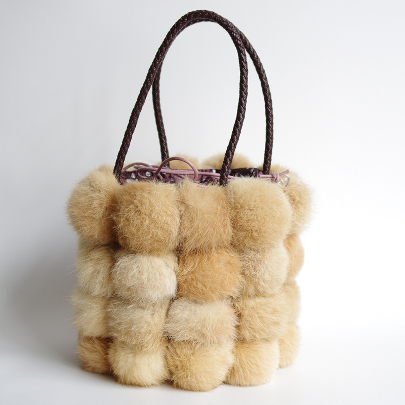 New Hot Sale Winter Woman Real Fur Bags For Ladies Luxury Handbags Fashion Rabbit hair Bucket Women Bag Bolsas Feminina