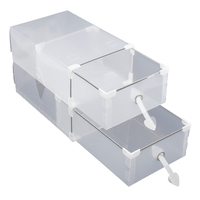 Aima 24折りたたみプラスチック靴箱主催引き出しスタッカブル収納ボックスtransparen透明