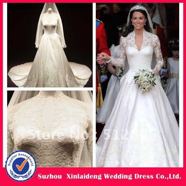 Yw 12061422 exquisite design royal satin long sleeves lace for Kate middleton wedding dress where to buy