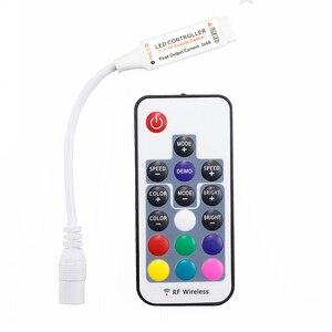 Image 1 - Mini Led RGB Fernbedienung DC5 24V 17key RF Wireless Controller mit 4pin weibliche DC Für 5050 12A RGB Led Streifen band Beleuchtung