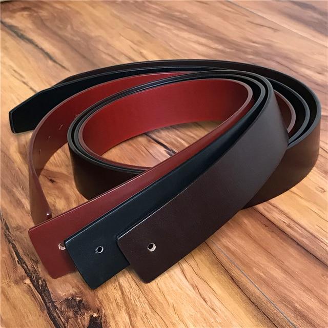 De cuero genuino 3,8 CM de calidad de lujo, correa de los hombres sin cinturón hebilla Correa masculina cinturones para hombres Ceinture Homme 105- 125 CM SP02