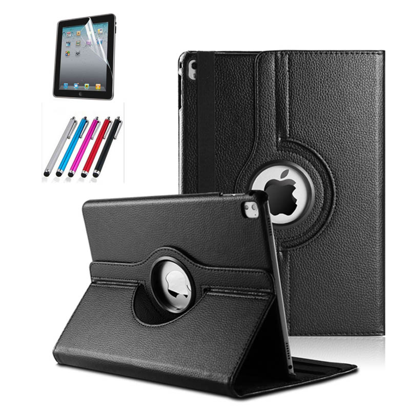 360 Rotating Protective Case for Apple iPad Pro 9.7 Luxury PU Leather Flip Stand Smart Cover With Screen Protector Pen