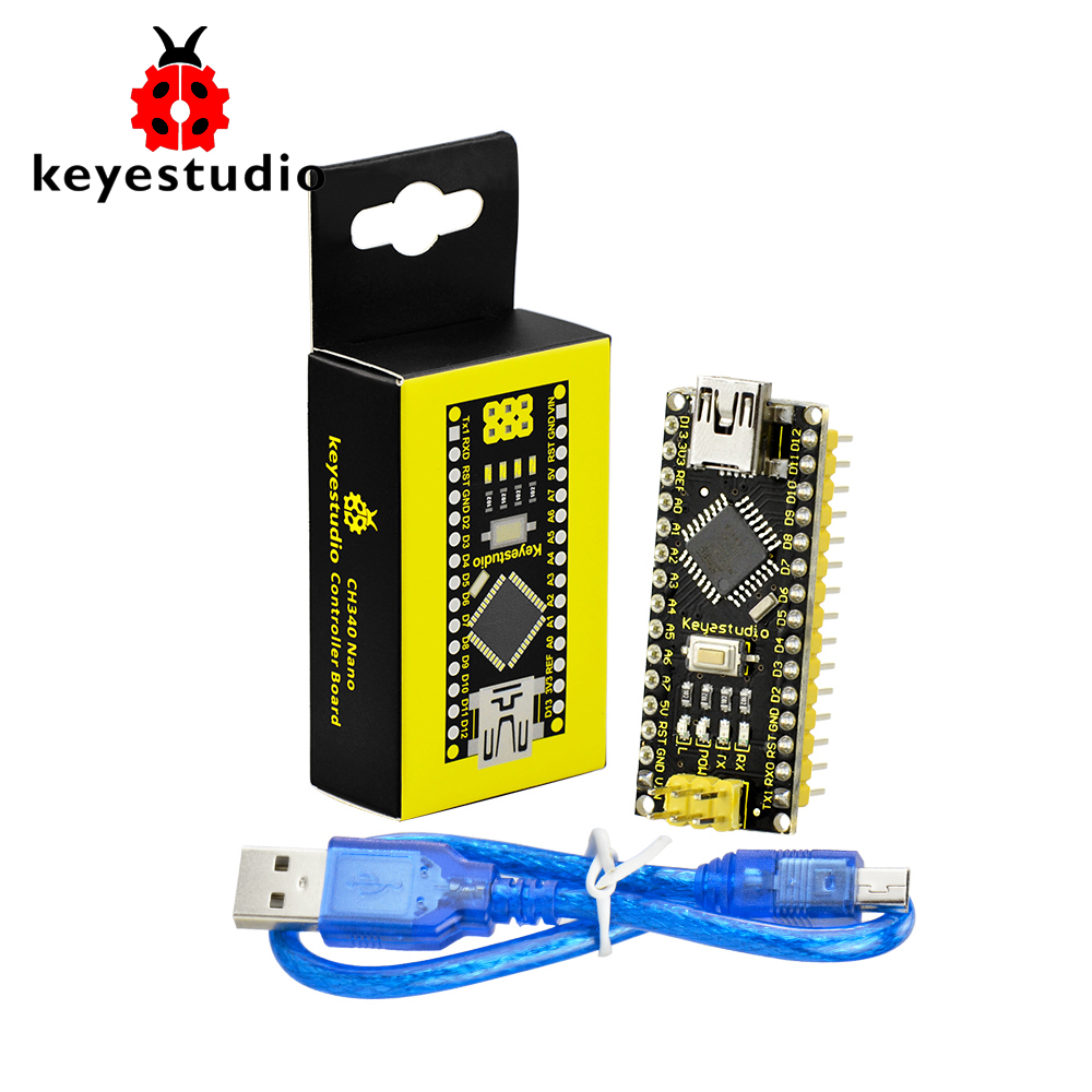 Free Shipping 1pcs Keyestudio CH340 Nano Controller Board + USB cable For Arduino Programing