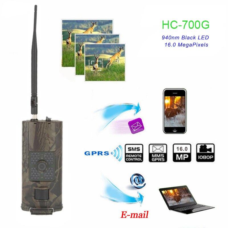 smtp caca trail camera 3g mms sms 16mp 1080 p cameras celulares hc700g visao noturna 940nm