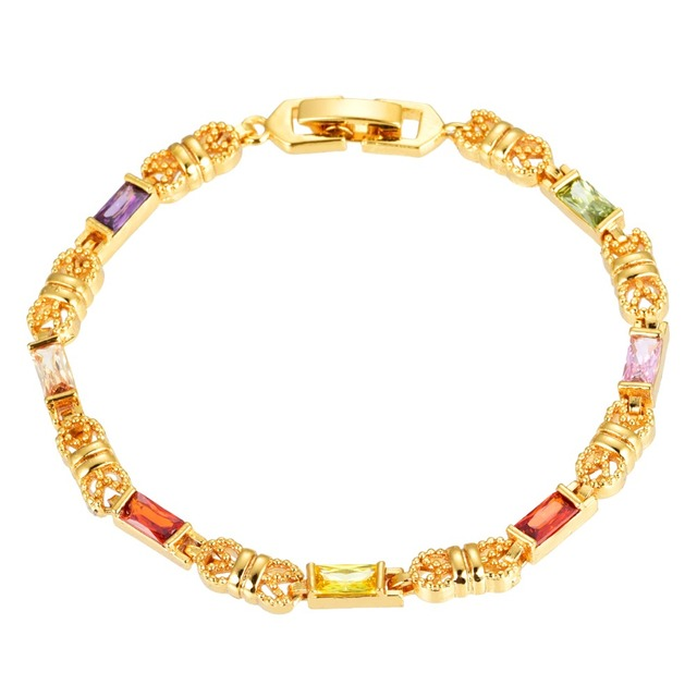 NEW Style Women Girls CZ Bracelet Gold Color Cubic Zirconia Charm Bangles Jewelry Gifts High Quality