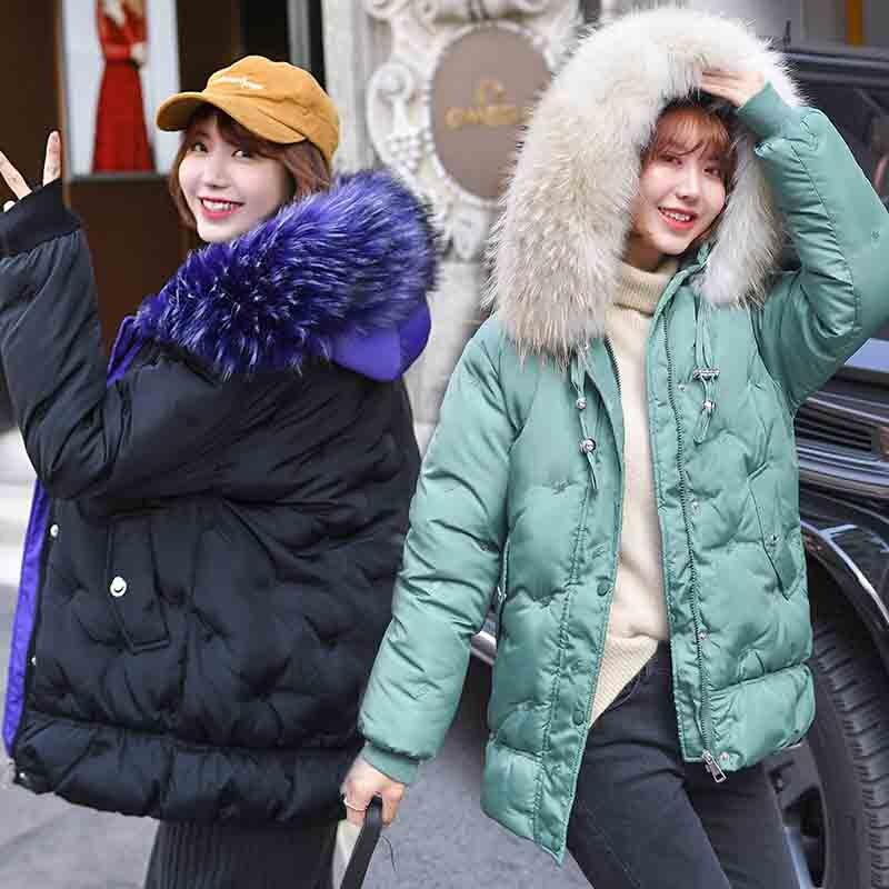 ALMUERK 2019 Winter Women Fur   Parka   Hooded Pocket Coat Warm Bomber Jacket Cotton Lose Boyfriend Style Long Plus Size Large Hoody