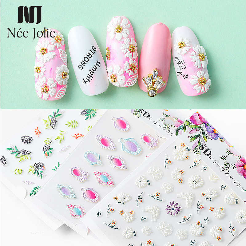 1 Sheet 5D Nail Stickers Mixed Pattern Embossed Flowers Self-adhesive Transfer Decals Colorful Nail Art Decorations for Nails