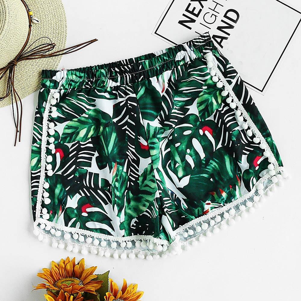 Womail Women Shorts Summer Print Sexy Bohemian Casual Shorts Mid Waist Short Skinny Beach Daily Fashion Denim Color  J23