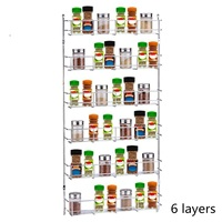 1 Piece 6 Layers Kitchen Spice Rack Cabinet Organizer Storage Holders Shelf Iron Pantry Wall Hanging Holder Save Space Shelf