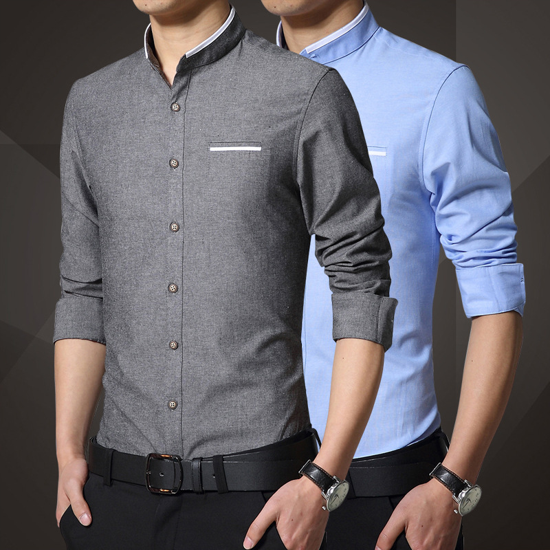 1pcs Men s shirts plus size 2019 Spring Fashion Pure cotton long sleeve  Mandarin Collar dress shirts Men Casual shirts overhemd-in Dress Shirts  from Men s ... e1e6ecd55136