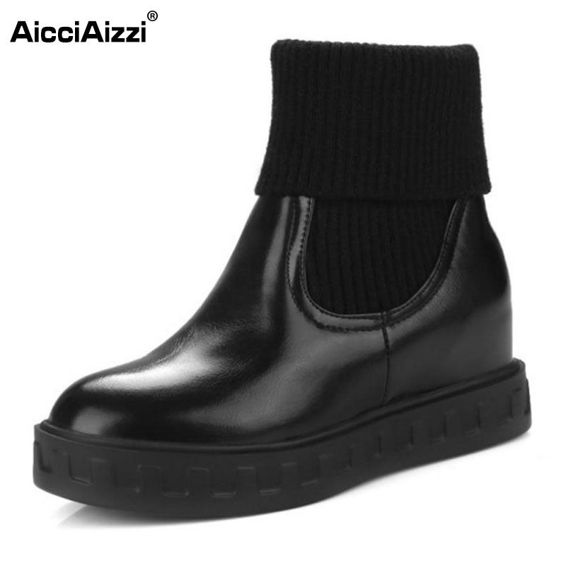 AicciAizzi Size 34-43 Ladies Flats Boot Women Round Toe Patchwork Solid Color Flat Boot Slip On Warm Winter Fashion Botas Mujer hot sale 2016 new fashion spring women flats black shoes ladies pointed toe slip on flat women s shoes size 33 43