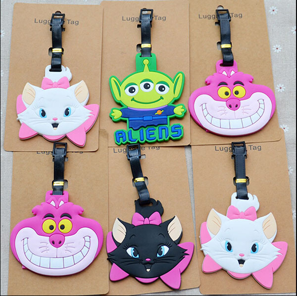 IVYYE 1PCS Cat Aliens Anime Luggage Tag Travel Accessories Suitcase ID Address Portable Tags Holder Baggage Labels New