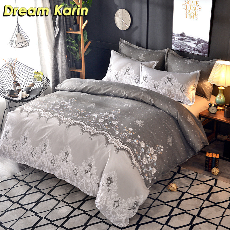 Nordic Flower Printed Bedding Set 2/3pcs Luxury Quilt Cover Duvet Sets Comforter Covers Single Double Queen King Size Bed Linens