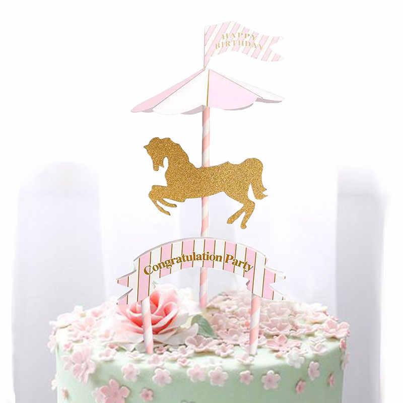 Brilliant Pink Blue Horse Carousel Birthday Party Decoration Kids Flag Personalised Birthday Cards Xaembasilily Jamesorg