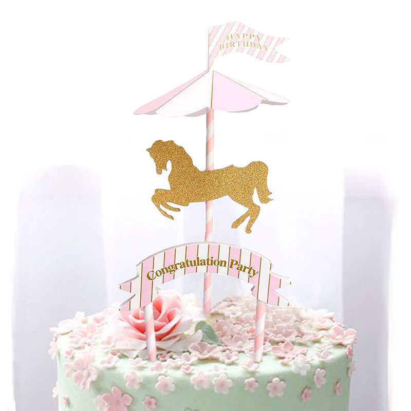 Horse Carousel Theme KIds Birthday Party Decoration Cake Flag Baby