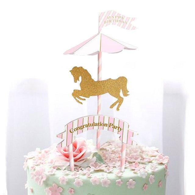 Rosa Blau Horse Karussell Geburtstag Party Dekoration Kinder Flagge