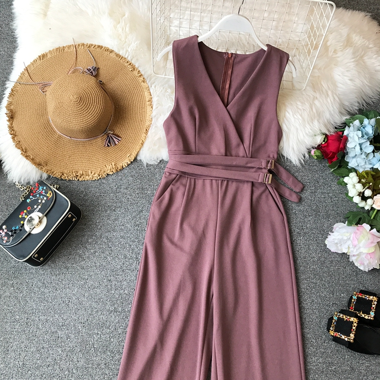 ALPHALMODA 2019 Spring Ladies Sleeveless Solid Jumpsuits V-neck High Waist Sashes Women Casual Wide Leg Rompers 24