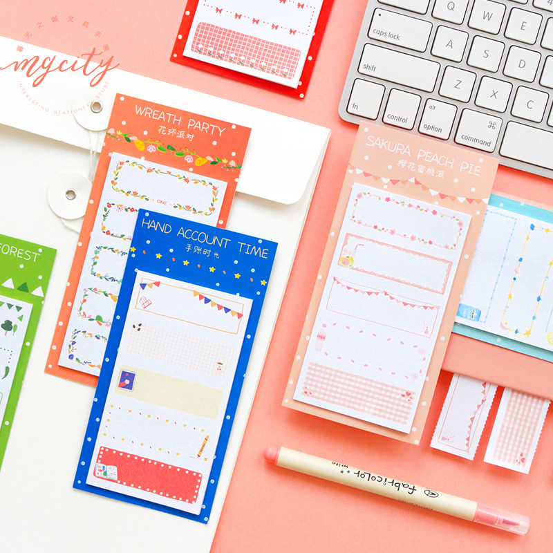 Go Outing Hand Account Time Sakura Party Memo Pad Sticky Notes Memo Notebook Stationery Papelaria Escolar School Supplies