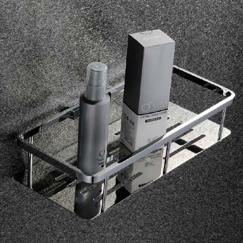ФОТО Free Shipping 304 Stainless Steel High Quality Chrome Bathroom Shelves Multifunctional Cosmetic frame Shelf Basket KF336