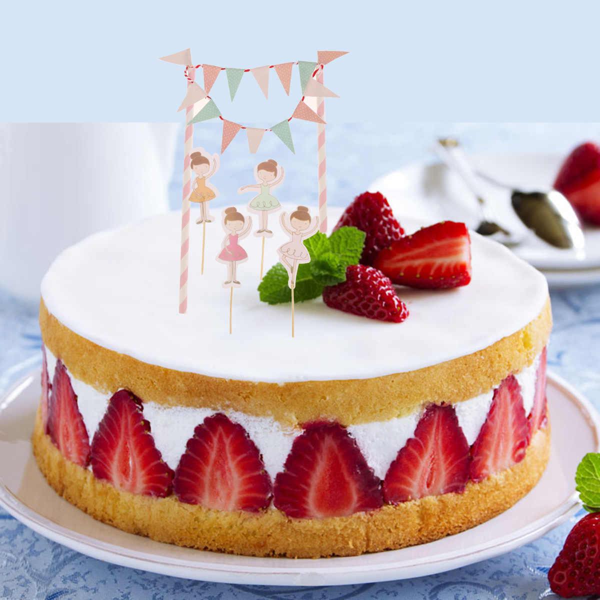 Superb Ballet Dancer Birthday Cake Bunting Flag Topper Ballerina Personalised Birthday Cards Paralily Jamesorg