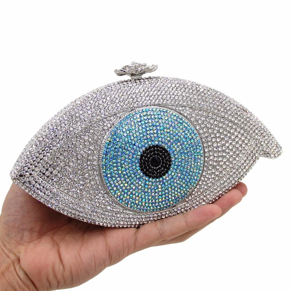 2017 new luxury eyes evening bags full diamonds wedding party dinner bag ladies single shoulder handbag women day clutches purse