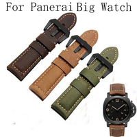 22MM 24MM 26MM Frosted Blue Retro Genuine Leather Watchbands Men Models Calfskin Strap For PAM And