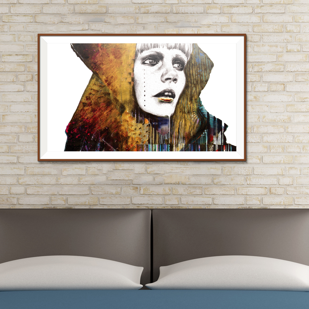 Painting woman Makeup Illustration Rainbow colors gaze ii Figure Painting Abstract Home decor Canvas Frameless Oil Painting