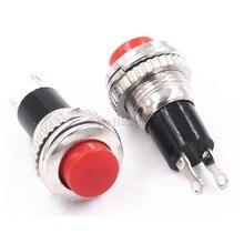 100 pces novo Ds 316 nenhum interruptor de bloqueio 10mm vermelho campainha interruptor/interruptor de reset/pequeno botão redondo