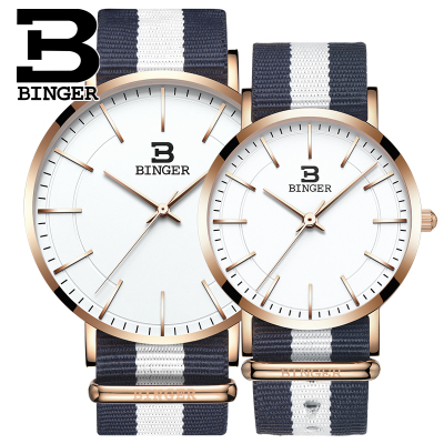 Brand Binger Nylon Watchband Watches Men Quartz Wristwatches for Lovers Waterproof Clock Fashion Unisex Watch Women