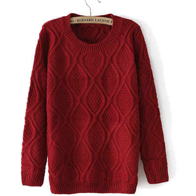 Women Knitted Pullover Sweater Solid Quilted Women's Long-sleeved O-neck Casual Outerwear