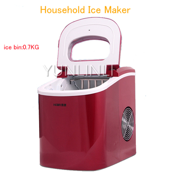 Ice Maker Household Ice Making Machine Small Commercial Ice Maker Milk Tea Shop Ice Machine in Red Color HZB-12A household ice maker commercial stainless steel round ice cube machine small size ice cube making machine hzb 15as