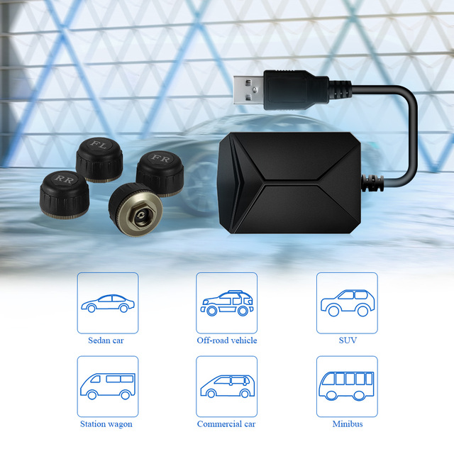 USB Android TPMS Car Tire Pressure Monitor with 4 External Sensors 116 psi Monitoring Alarm System 5V Wireless Transmission TPMS