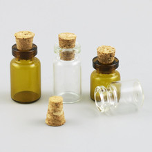 Free Shipping - 50pcs/lot 1ml Empty Clear Glass Bottle With Wood Cork. Mini Sample Vial, wishing bottle