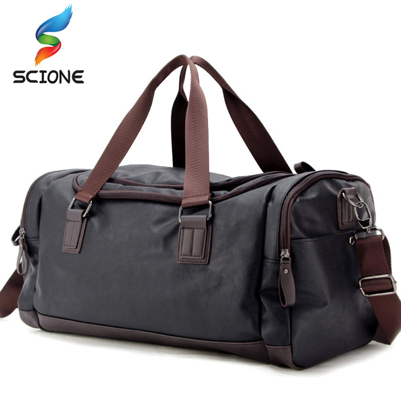 Top Quality PU Leather Fitness Training Bags For Men Large Classic Soft Sports Gym Bags Men's Travel Multifunction Handbag